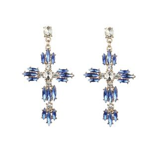 Large cross earrings for women Blue